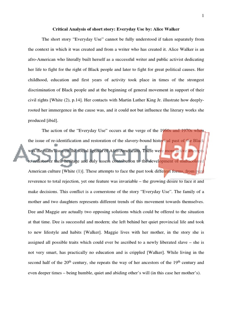 critical analysis essay everyday use