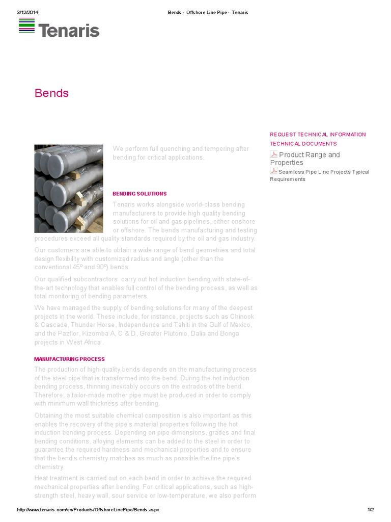 Bends - Offshore Line Pipe - Tenaris - Mother Pipe | Pipe