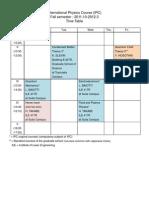 2011 Timetable Fall