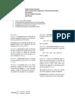 Prova 2 de Geometria Analítica - BCC / IBM - UFPR