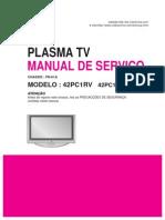 Tv Plasma Lg 42pc1rv 42pc1rv Mj Chassis Pn 61a