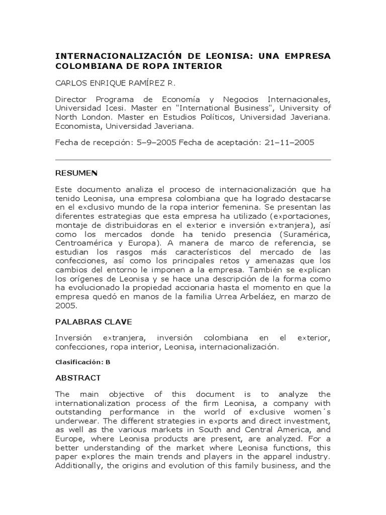 a7f9c4db8f INTERNACIONALIZACIÓN DE LEONISA
