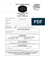 Sponsorship Form - Evening of Taste