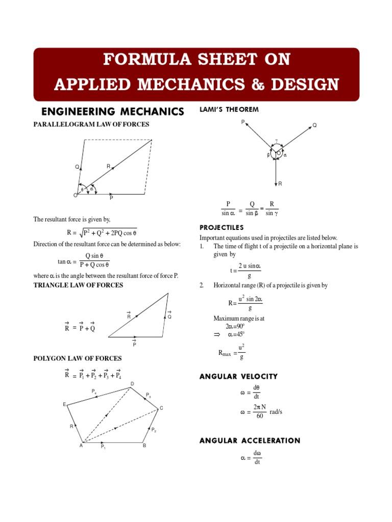 Formula Sheet - Applied Mechanics & Design | Belt