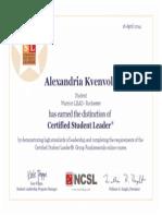 student leader certificate wsur warriors lead