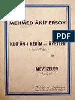 Mehmed Âkif Ersoy - Kurân-ı Kerîmden Âyetler & Mevizeler