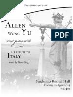 4/15/14 Recital Program