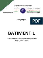 Polycopie BATIMENT-1 Master Genie Civil Kassoul