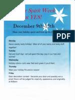 Winter Spirit Week flyer