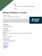 Ijtihad- Takhtiah or Taswib
