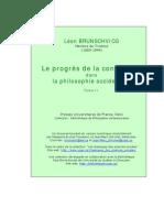 BRUNSCHVICG, Léon. Le progrès de la conscience dans la philosophie occidentale. Tome II.