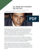 Adolfo Suarez, Artisan de La Transition Post-franquiste, Est Mort