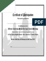 Effective Leadership Workshop Certificate of Participation