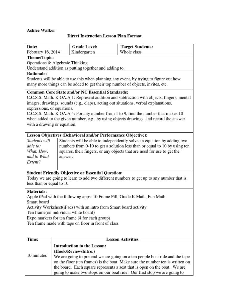 Kindergarten Math Lesson Plan | Common Core State Standards ...