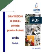 Caracterizacion de biodiésel (principales parámetros de calidad)