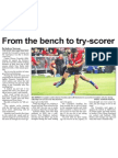From the Bench to Try-scorer (The Star, March 12, 2014)
