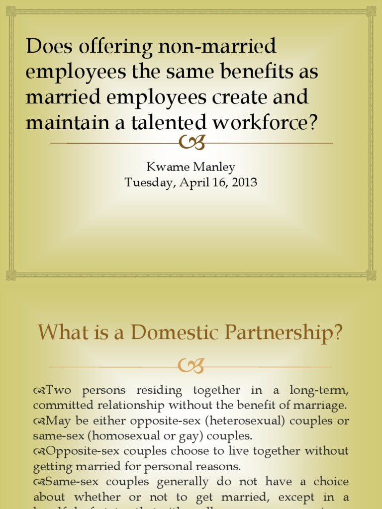 Homosexual couples employment benefits