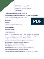 Reglamento a Ley Migracion