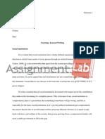 Sociology Journal Writing