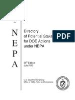 Dept of Energy Billshit NEPAStakeholdersDirectory_07!31!13