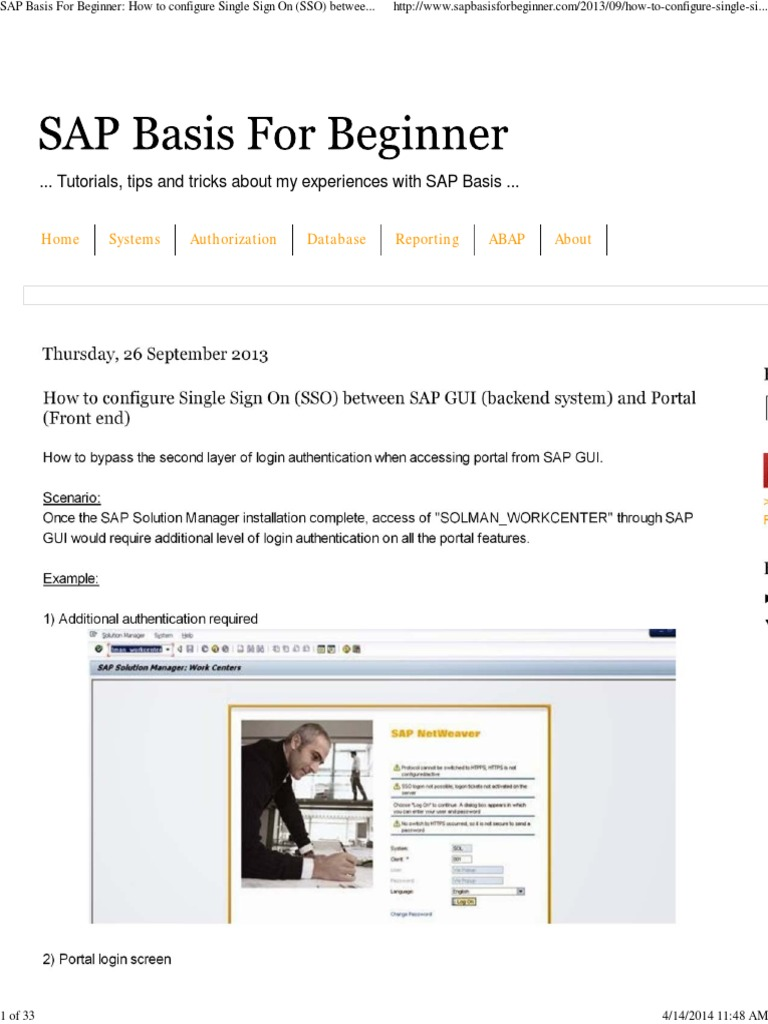 SAP Basis for Beginner_ How to Configure Single Sign on (SSO