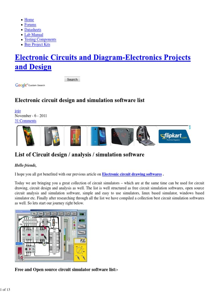 Free Circuit Simulator Circuit Design And Simulation Software List Spice Electronic Circuits