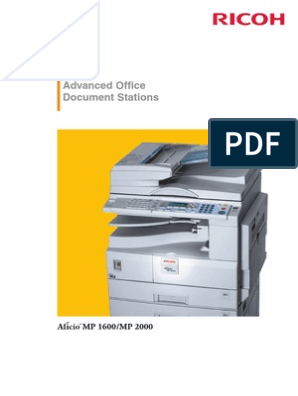 Ricoh Aficio MP 1600/ MP 2000 Product Brochure | Fax | Image