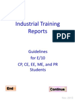 E10 CE CP EE ME PR Guidelines for Training Reports