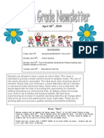 fourth grade newsletter 4-18