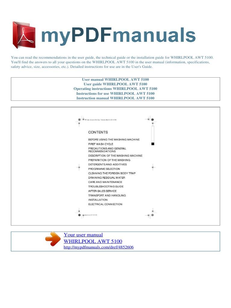 user manual whirlpool awt 5100 e washing machine laundry rh es scribd com Army Technical Manuals WJR III Technical Manual