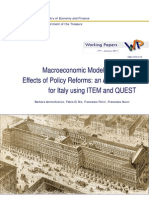 Annicchiarico (2011) Macroeconomic Modelling and the Effects of Policy Reforms. an Assessment for Italy Using ITEM and QUEST