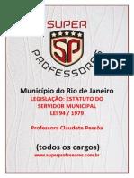 Estatuto Servidores Municipais Rio de Janeiro Lei 94.1979