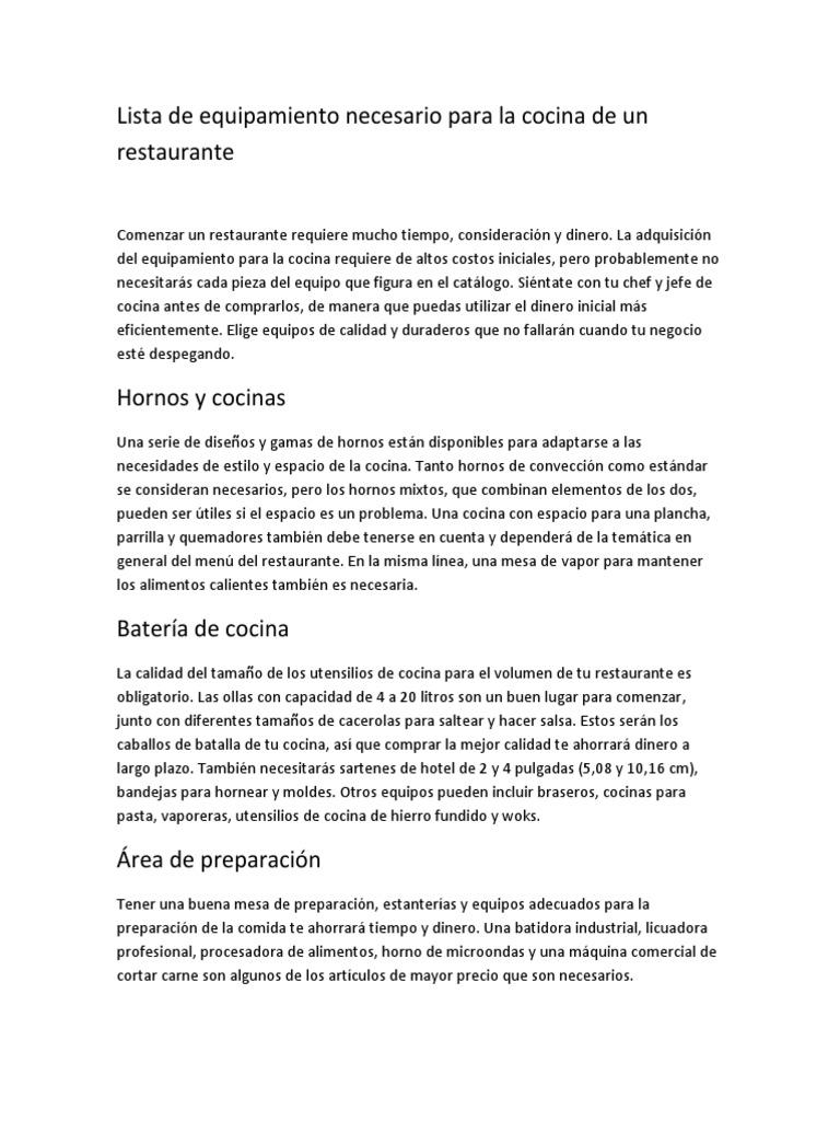 Lista de equipamiento necesario para la cocina de un for Pdf de cocina