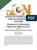 Protocolo de Verificación de Operaciones Mineras de Oro para el Código Internacional para el manejo de Cianuro - IIMC