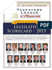2013 Taxpayers League of Minnesota Scorecard