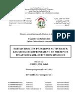 Estimation Des Pression Actives Sur Les Murs de Soutenement