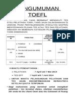 Pengumuman TOEFL Genap 2014