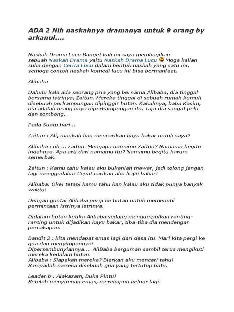 Contoh Naskah Drama Komedi By Arkhanul