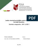 Analiza Structurii Portofoliilor Pentru Societatile de Investitii Financiare