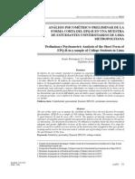 Análisis Psicométrico Preliminar de la Forma Corta del EPQ-R en Estudiantes Universitarios