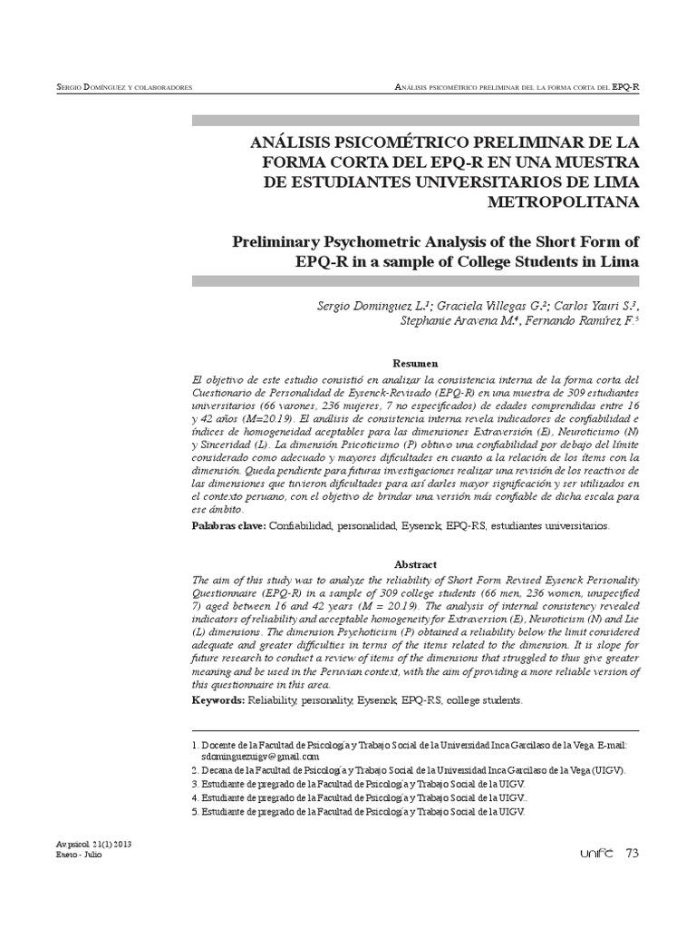 neuroticism questionnaire pdf
