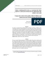 Estudio comparativo de la calidad de vida de niños y adolescentes escolarizados de Lima y Ancash