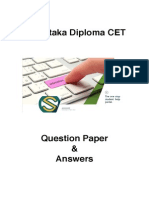 Karnataka Diploma CET 2013 Solved Question Paper - Textile Technology