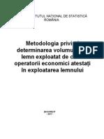 Metodologia Privind Determinarea Volumului de Lemn Expl