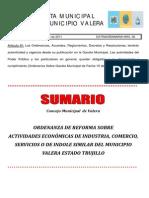 GACETA EXTRAORDINARIA Nº 36 ORDENANZA actividades econo. VALERA 2011