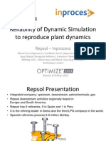 Reliability of Dynamic Simulation to Reproduce Plant Dynamics