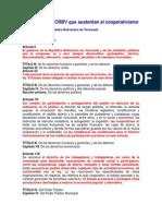 Artículos de la CRBV que sustentan el cooperativismo