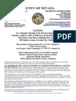 Nevada County BOS Agenda April 22, 2014