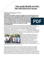 SRI LANKA Nine People Illegally Arrested, Detained and Laid With Fabricated Charges