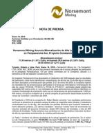 NOM_HR100114 Proyecto Constancia - Anuncia Mineralización de Alta Ley Au-Cu